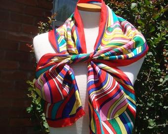 Designer  Long Oscar de la Renta Swirl Rainbow Scarf