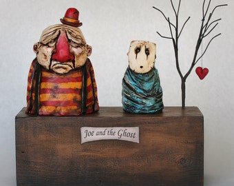 Joe and the Ghost - Handmade Sculpture, Polymer Clay, Wood - Sale