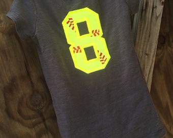 Child's custom personalized softball shirt softball number applique
