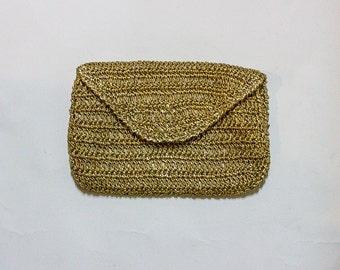 Vintage Gold Crochet Envelope Clutch