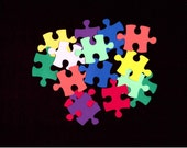 Scrapbooking/ Autism Awareness - 100 Small Puzzle Pieces - Solid Color Card Stock