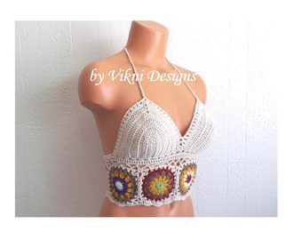 Festival Natural Vikni Crochet Autumn Flower Top, Crochet Crop Top, Hippie Crochet Top