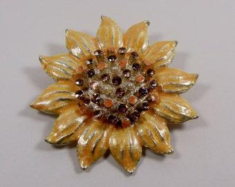 Vintage Enamel Sunflower Brooch  Rhinestones Faux Pearls