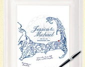 Cape Cod Alternative Wedding Guest Book, Cape Cod Map Guestbook