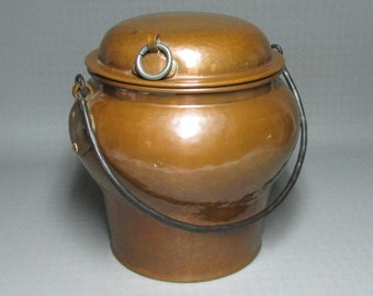 hammered copper milk pail from sweden with a lid iron handle arts and crafts style