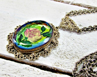 Vintage Cameo Necklace, Rainbow Glass Rose Cameo, Gold Filigree Necklace, Long Multi-Strand Chain Necklace, 1970s Victorian Revival Jewelry