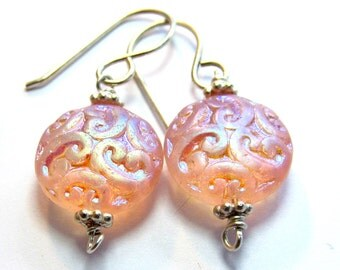 Pink Iridescent Earrings