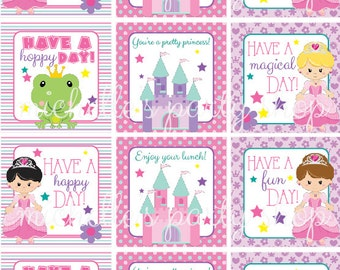 INSTANT DOWNLOAD, Princess Lunch Box Notes