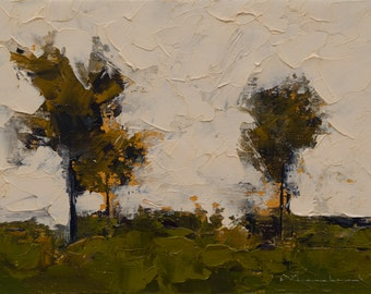 The Proposal Trees — Original Oil Painting, Landscape Painting, Abstract Landscape, Original Painting, Abstract Oil Painting, 5 x 7