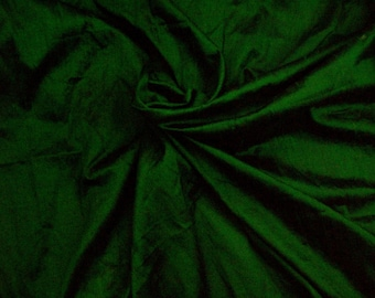 Wholesale fabric 6 yards of 100%pure dupioni silk in emerald green