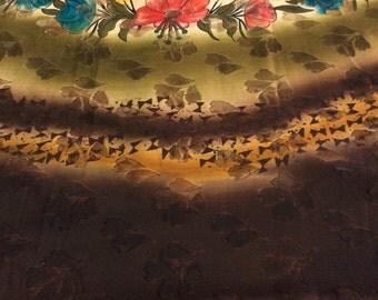 Used Sari Dress  Making fabric sarong drape Art silk Sari in brown
