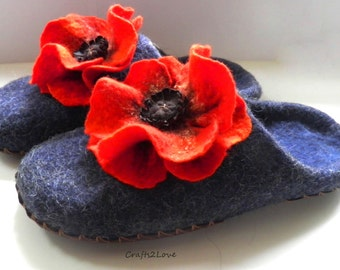 Felted slippers navy with red poppies. Wool slippers, felted wool, bedroom slippers, leather soles, women in house shoes. -Made to order-
