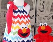 Sesame Street Elmo Dress,Elmo in Rainbow Chevron Pillowcase Dress,Elmo Outfit,Elmo Toddler Dress,Elmo 1st Birthday Dress, FULLY LINED Dress
