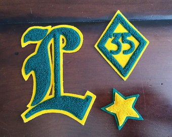 Vintage Varsity Letter L  35 Gold and Green Preppy High School Varsity Patch Cursive L 1935 Lowell High Scool San Francisco