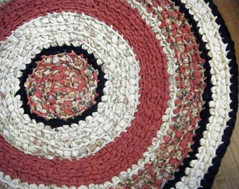 Sale - Red and Black 3 Foot Round Rug - for Etsy