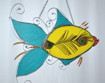 Fish Decor - Custom - Sun Catcher - Stained Glass - Fish Theme - Peacock Feather - Fish room Decor - Humorous - Whimsey - Wall - Window