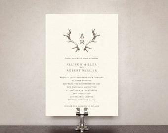 Antler Monogram Wedding Invitation Suite