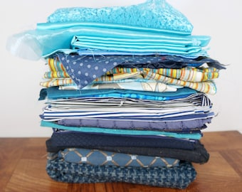 Blue fabric scraps, medium to large scraps, fabric remnants, variety pack, scrap assortment, destash scrap bundle