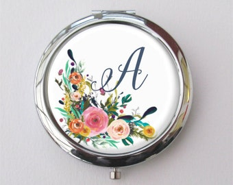 Compact Mirror, Personalized Bridesmaid Gift, Purse Mirror