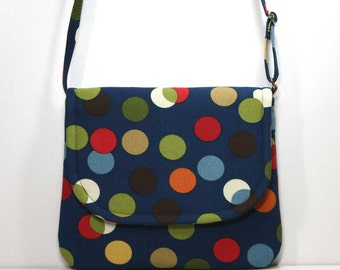 Small Foldover Crossbody Bag Small Shoulder Purse Sling Bag Hobo Bag Cross Body Bag - Multi Colored Dots on Navy Blue - Made to Order