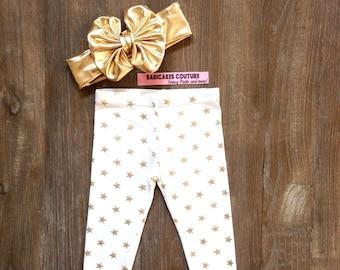 Gold Star Glitter Legging & Gold Bow Headband Gold Sparkle Leggings, Gold Star Glitter Pants, Gold Star Baby Leggings, Gold Star Baby Pants