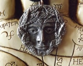 Greenman Pendant - God pagan nature witchcraft wicca jewelery cunningman guardian lord forests green