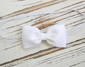 White Bow Headband - Newborn Bow Headband - Baby White Bow Headband