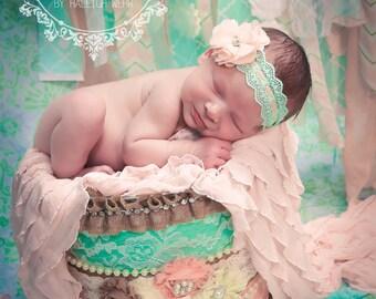 Mint Lace Chiffon Flower Headband, Girls Shabby Chic Headband, Mint and Peach Headband