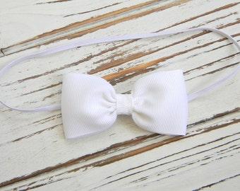 White Bow Headband - Newborn Bow Headband - Baby White Bow Headband