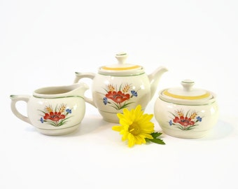 Vintage Arabia Finland Mini Tea Set / Coffee Set in Colorful White w/ Red Poppies Pattern ARA55