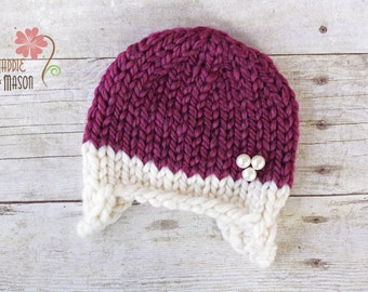 RUSH READY to SHIP - Wooly Knit Earflap Beanie, Newborn Photography Prop, Cream & Wine Purple