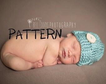 Crochet PATTERN - Woven Pattern Button Beanie Pattern, Crochet Photo Prop for Newborns, Soft and Stretchy Basket Weave Beanie PDF