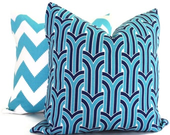 jonathan adler blue and aquamarine anton arch pillow cover 20x20