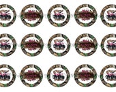 """1"""" 4 Wheelin' Camo Mossy Oak Muddin Bottle Cap Image Sheets Party Favors Cupcake Topper Magnet Stickers Printables Instant Download."""