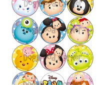 "2"" Tsum Tsum Digital Images Party Favors Cupcake Toppers Scrapbooking INSTANT Download."