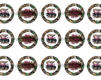 "1"" 4 Wheelin' Camo Mossy Oak Muddin Bottle Cap Image Sheets Party Favors Cupcake Topper Magnet Stickers Printables Instant Download."