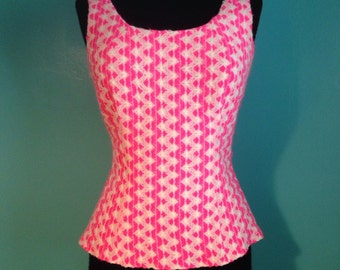 Vintage 1960s Saks Fifth Avenue hot pink and white knit top