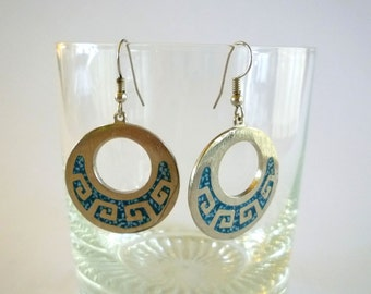 Vintage Turquoise Inlay Earrings