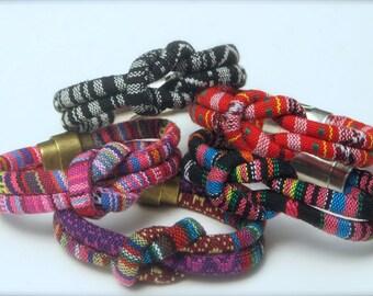 Colorful Cotton Knotted Bracelet, Global cotton textiles, vegan bracelet, brass or pewter secure magnet clasp, bright summer colors, comfy