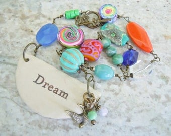 Inspirational Dream Clay Pendant Necklace