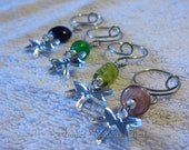 Colorful Mirrored Fireflies and Glass Bead Wine Glass Charms (set of 4)