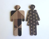Objectify Bathroom Female/Male Sign Figures - Dark Grid and Pattern