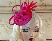 Hot Pink Fascinator Hat - Fuchsia Mini Hat - Tea Party Hat - Wedding Fascinator - British Fascinate Hat - English Kate Middleton Hat