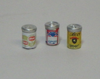3 Beer Can Miniatures for Adult Fairy Garden or Dollhouse