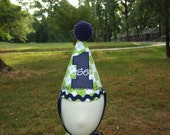 Personalized Green Argyle Birthday Ric Rac Hat with Navy Pom Pom with Navy Pin Dot Number