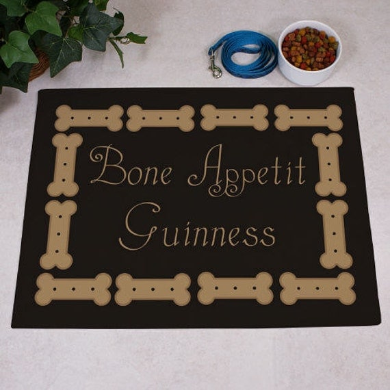 Dog Bone Pet Rug: Personalized Bone Appetit Dog Food Mat Gfy83166027S