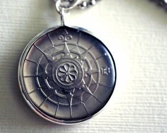 Vintage Compass Coin Pendant