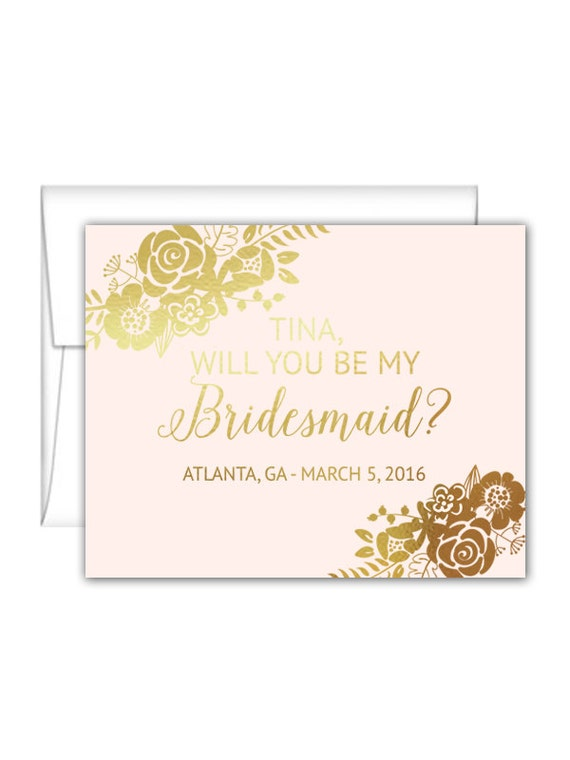 will you be my bridesmaid cards personalized foil floral. Black Bedroom Furniture Sets. Home Design Ideas