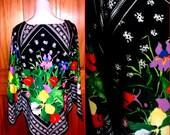 Sale *VTG 60s 70s Bright FLORAL Retro Hippie Festival Handkerchief Angel Sleeve Blouse Top