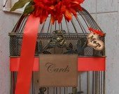 Rustic Wedding Birdcage / Card Box / Halloween Wedding / Wedding Decor / Wedding Card Holder / Birdcage Card Holder / Fall Decor